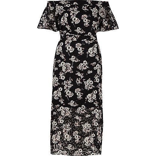 Black floral print bardot layer midi dress