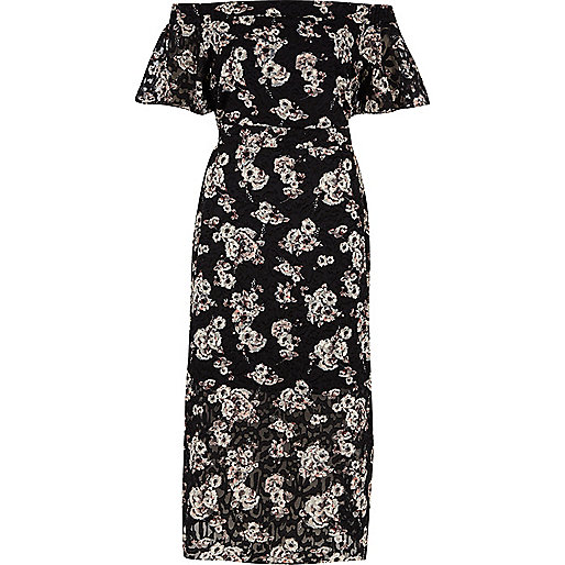 Zwarte midi-jurk met bardotlaag en bloemenprint