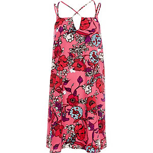 Pink floral print cross strap slip dress