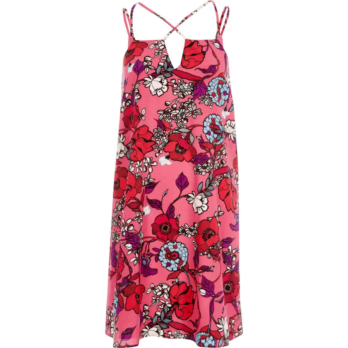 Pink floral print cross strap slip dress