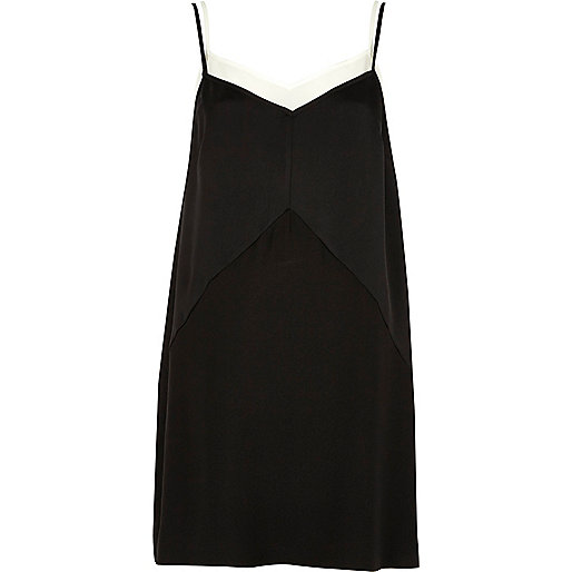 Black layered cami slip dress