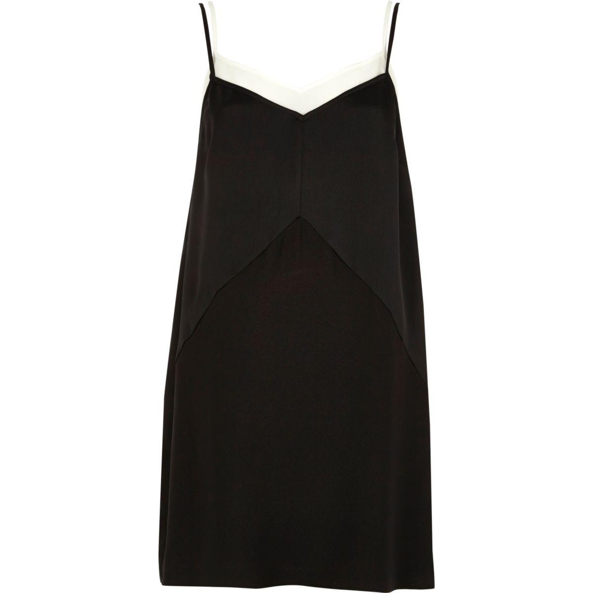 Black layered cami slip dress