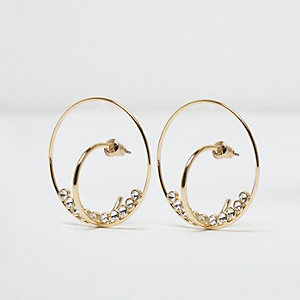 Gold tone rhinestone double hoop earrings