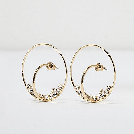 Gold tone diamante double hoop earrings