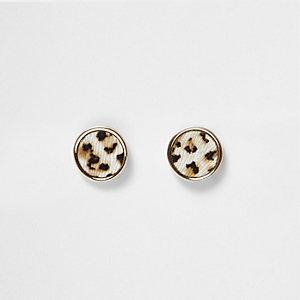 Gold tone leopard print stud earrings
