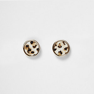 Gold tone leopard print stud earrings