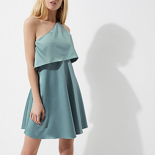 Light blue satin one shoulder skater dress