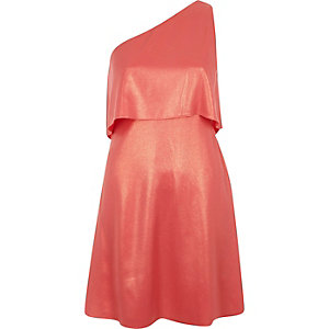Pink metallic one shoulder skater dress