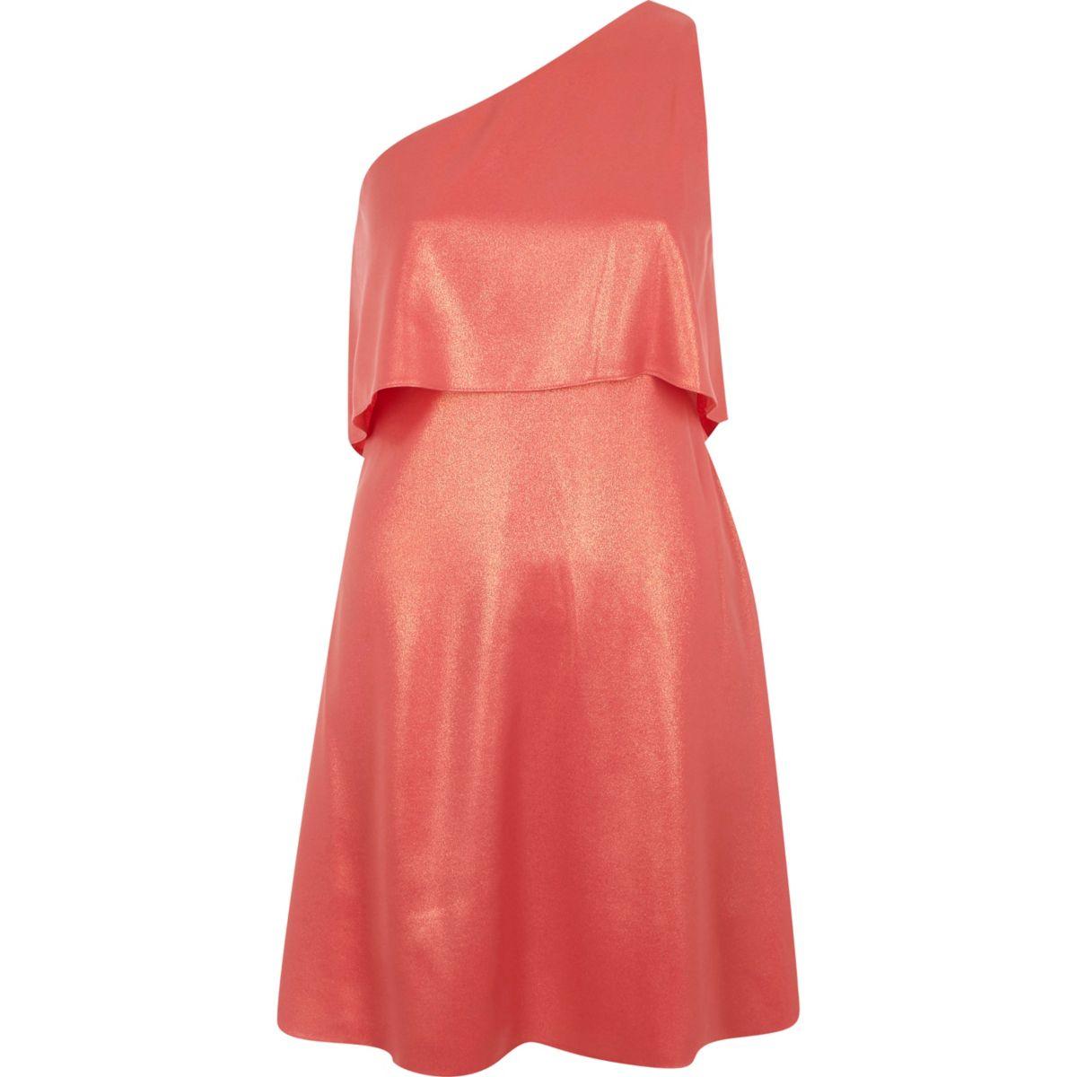 Pink metallic one shoulder skater dress