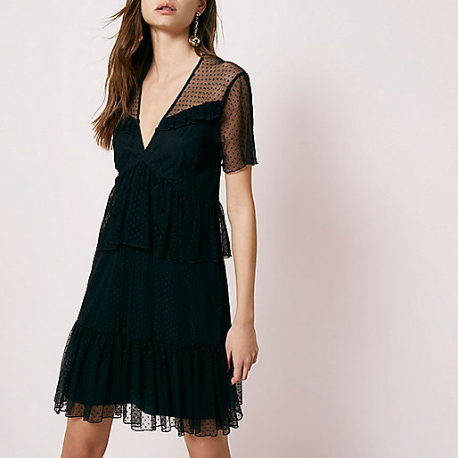 Black dobby mesh tiered short sleeve dress