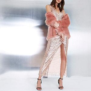 Roségouden metallic bodycon maxi-jurk met diep decolleté