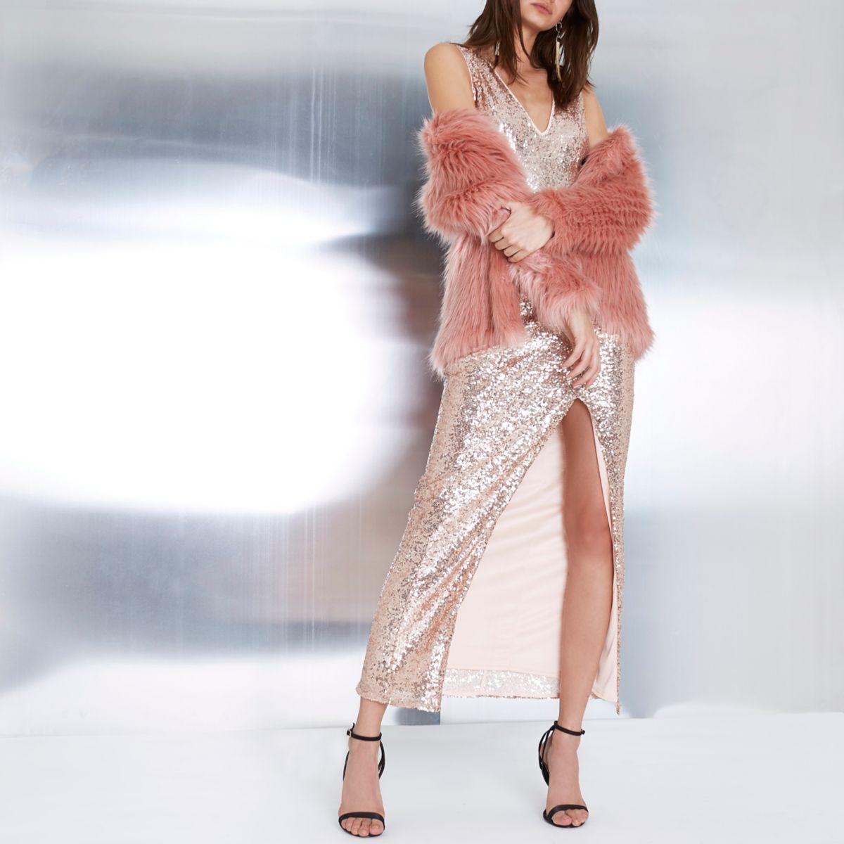 Rose gold metallic plunge bodycon maxi dress