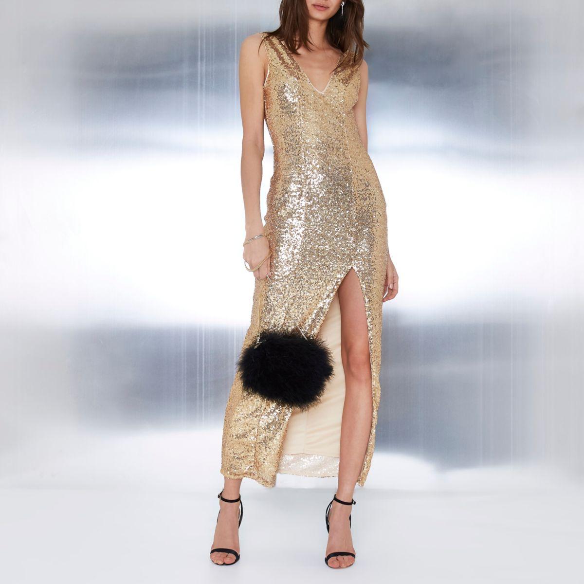 Gold sequin plunge split front maxi dress