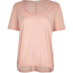 Pink scoop neck T-shirt