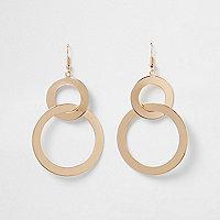 Goudkleurige oorhangers met dubbele ring