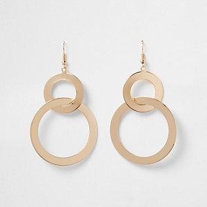Gold tone double circle dangle earrings