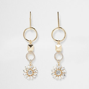Gold tone circle diamante drop earrings