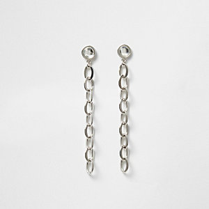 Silver link chain drop earrings