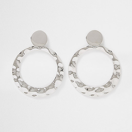 Silver tone hammered circle drop earrings
