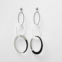 Silver tone circle dangle earrings