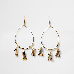 Gold tone tassel hoop drop earrings