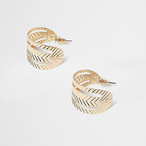 Gold tone folded leaf hoop earrings