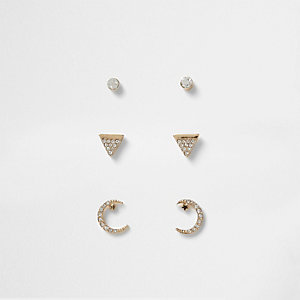 Gold tone diamante moon stud earring pack