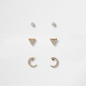 Gold tone diamante moon stud earring pack