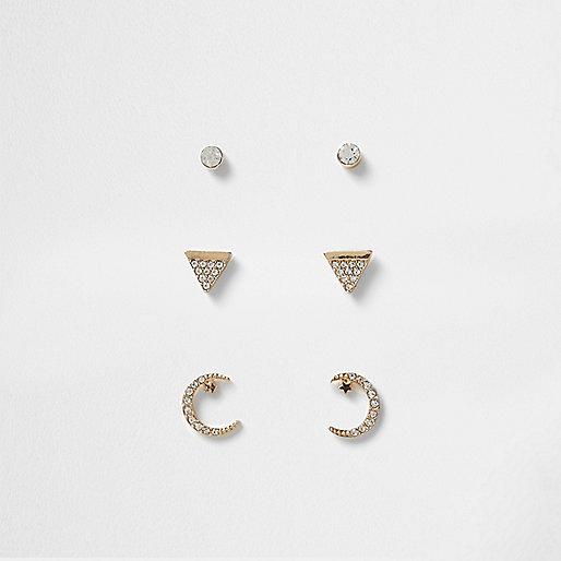 Gold tone rhinestone moon stud earring pack