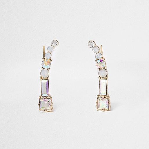Gold tone diamante embellished ear cuffs