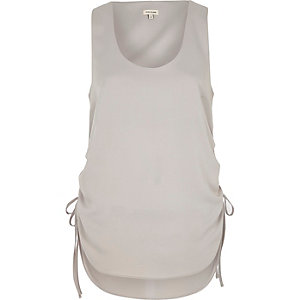 Grey ruched drawstring vest top