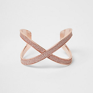 Orange glitter rose gold tone cuff bracelet