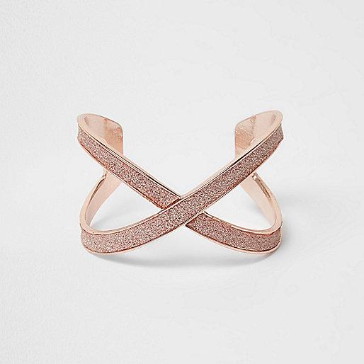 Orange glitter rose gold tone cuff bracelet