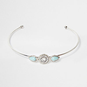 Silver tone turquoise stone arm cuff