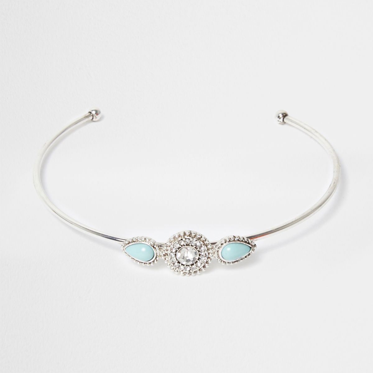 Silver tone turquoise stone arm cuff
