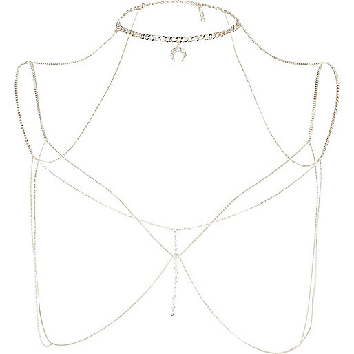 Silver tone choker harness body chain