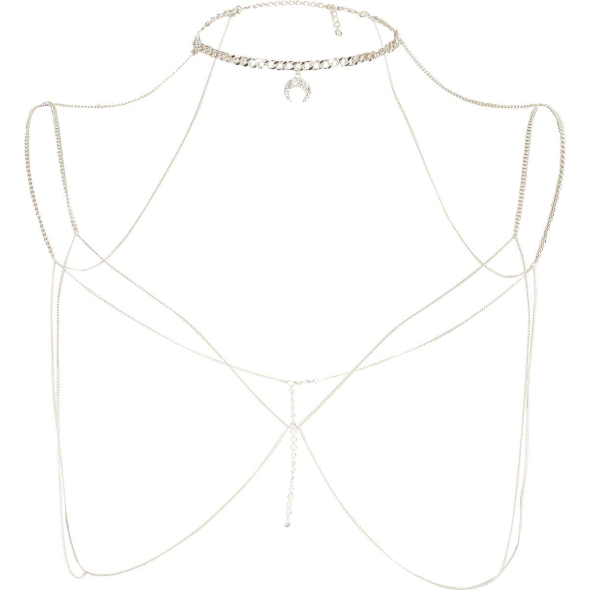 Silver tone choker harness body chain