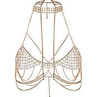 Rose gold tone choker body chain harness