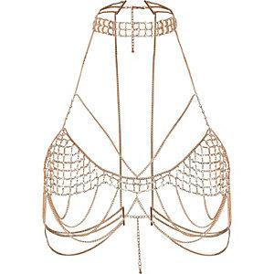 Harnais couleur or rose avec chaine ras-de-cou