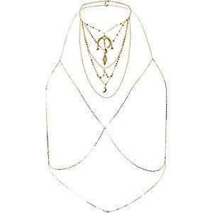 Harnais de corps doré avec collier et breloque