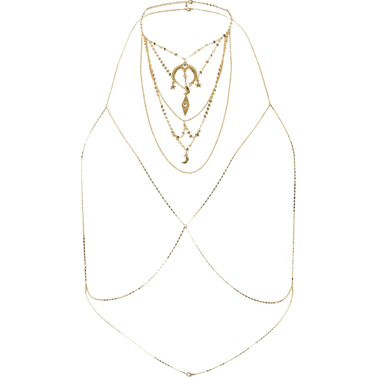 Gold tone charm necklace body chain harness