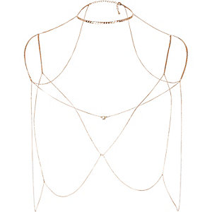 Gold tone harness body chain
