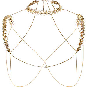Gold tone chain shoulder and choker harness