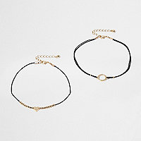 Black gold tone heart anklet set