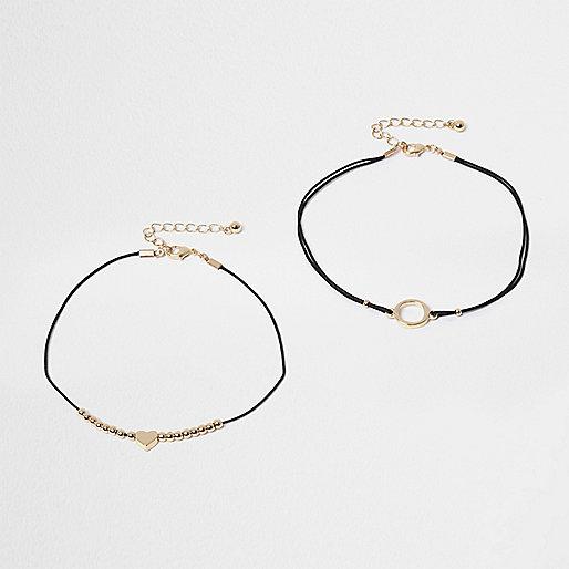 Lot de bracelets de cheville noir et doré motif cœur