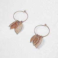 Rose gold tone filigree drop hoop earrings