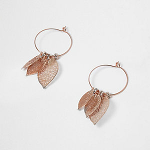Rose gold tone filigree drop hoop earrings