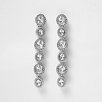 Silver tone diamante drop earrings