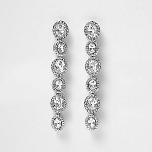 Silver tone rhinestone drop earrings