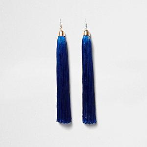 Blue tassel dangle earrings